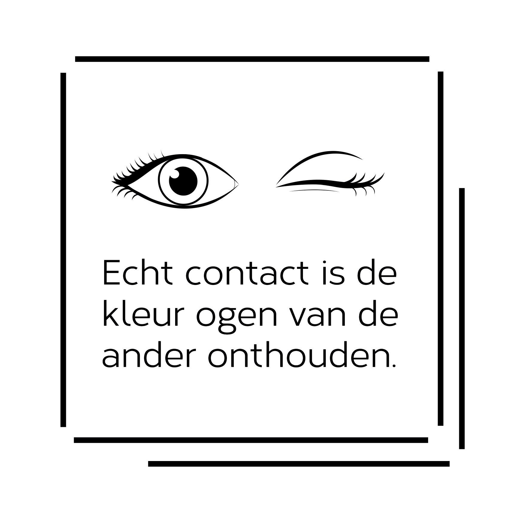 Logo met quote Echt contact is de kleur ogen van de ander onthouden.